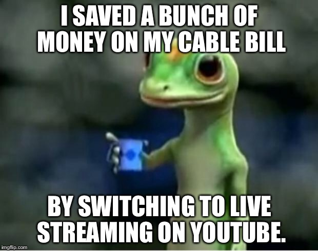 YouTube beats cable | I SAVED A BUNCH OF MONEY ON MY CABLE BILL BY SWITCHING TO LIVE STREAMING ON YOUTUBE. | image tagged in geico gecko,youtube,cable,tv humor,internet realization,stream | made w/ Imgflip meme maker