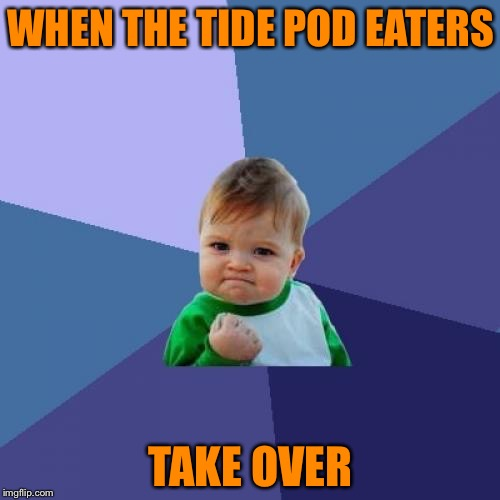Success Kid Meme | WHEN THE TIDE POD EATERS TAKE OVER | image tagged in memes,success kid | made w/ Imgflip meme maker