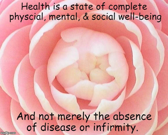 WHO quote | Health is a state of complete physcial, mental, & social well-being And not merely the absence of disease or infirmity. | image tagged in mental health,health | made w/ Imgflip meme maker