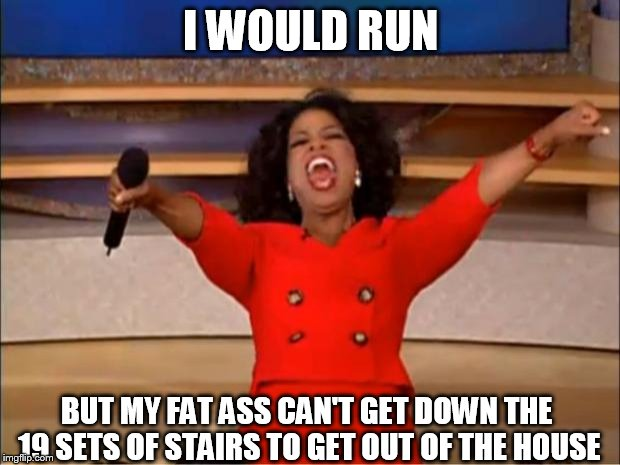 Oprah You Get A Meme | I WOULD RUN BUT MY FAT ASS CAN'T GET DOWN THE 19 SETS OF STAIRS TO GET OUT OF THE HOUSE | image tagged in memes,oprah you get a | made w/ Imgflip meme maker