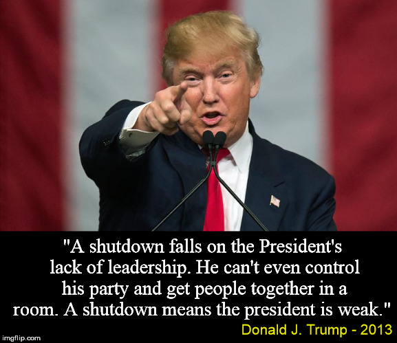 "He promised to run the country like his businesses. Shut down after only a year. |  ""A shutdown falls on the President's lack of leadership. He can't even control his party and get people together in a room. A shutdown means the president is weak.""; Donald J. Trump - 2013 