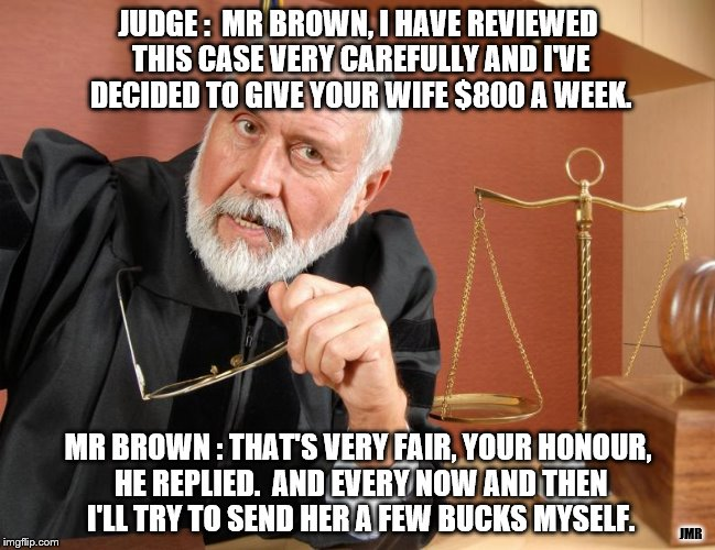 The Wheels of Justice | JUDGE :  MR BROWN, I HAVE REVIEWED THIS CASE VERY CAREFULLY AND I'VE DECIDED TO GIVE YOUR WIFE $800 A WEEK. MR BROWN : THAT'S VERY FAIR, YOU | image tagged in court,divorce,money,funny memes,silly,wife | made w/ Imgflip meme maker