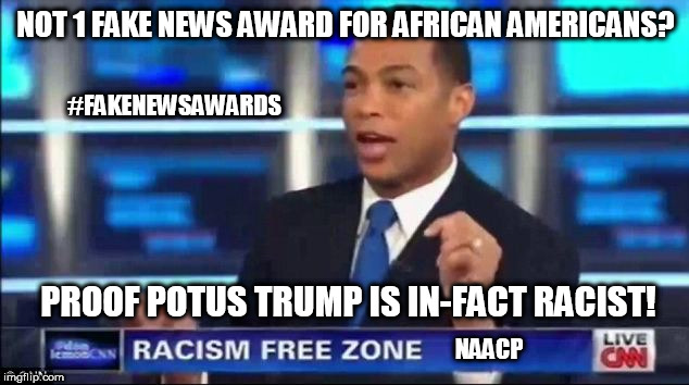 CNN with NAACP: Not 1 Fake News Award for African Americans? Proof POTUS Trump is in-fact Racist! | NOT 1 FAKE NEWS AWARD FOR AFRICAN AMERICANS? PROOF POTUS TRUMP IS IN-FACT RACIST! NAACP #FAKENEWSAWARDS | image tagged in don lemon fake news,cnn fake news,donald trump,naacp,racist,academy awards | made w/ Imgflip meme maker