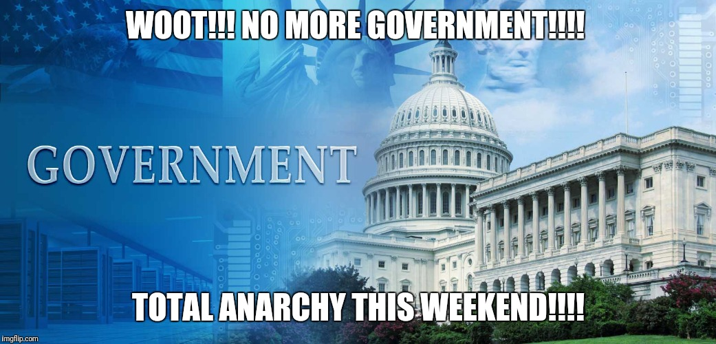 government meme | WOOT!!! NO MORE GOVERNMENT!!!! TOTAL ANARCHY THIS WEEKEND!!!! | image tagged in government meme | made w/ Imgflip meme maker