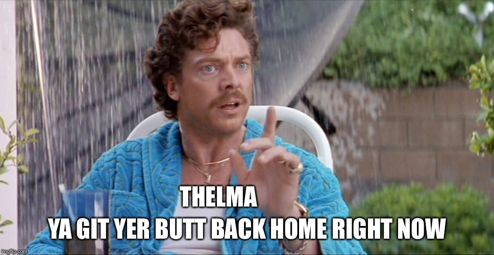 Thema, ya git yer butt back home right now | THELMA YA GIT YER BUTT BACK HOME RIGHT NOW | image tagged in christopher mcdonald,thelma,louise,feminism,womans march | made w/ Imgflip meme maker
