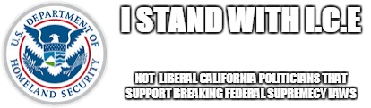 i.c.e. | I STAND WITH I.C.E NOT  LIBERAL CALIFORNIA POLITICIANS THAT SUPPORT BREAKING FEDERAL SUPREMECY LAWS | image tagged in homeland security | made w/ Imgflip meme maker