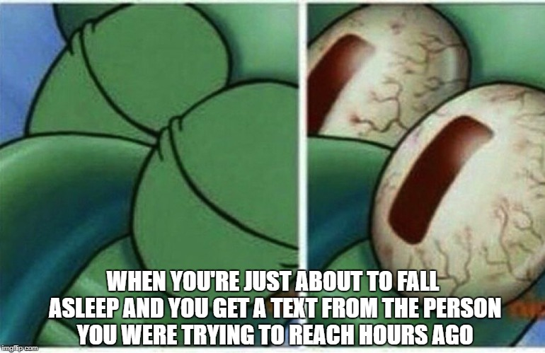 Squidward | WHEN YOU'RE JUST ABOUT TO FALL ASLEEP AND YOU GET A TEXT FROM THE PERSON YOU WERE TRYING TO REACH HOURS AGO | image tagged in squidward,memes,text,asleep,sleep,spongebob | made w/ Imgflip meme maker