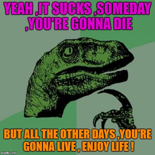 Philosoraptor Meme | YEAH ,IT SUCKS ,SOMEDAY ,YOU'RE GONNA DIE BUT ALL THE OTHER DAYS ,YOU'RE GONNA LIVE , ENJOY LIFE ! | image tagged in memes,philosoraptor | made w/ Imgflip meme maker