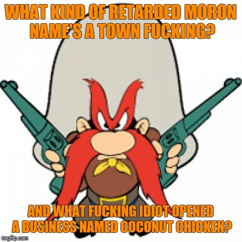 WHAT KIND OF RETARDED MORON NAME'S A TOWN F**KING? AND WHAT F**KING IDIOT OPENED A BUSINESS NAMED COCONUT CHICKEN? | made w/ Imgflip meme maker