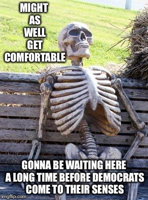 Waiting Skeleton Meme | MIGHT AS WELL GET COMFORTABLE GONNA BE WAITING HERE A LONG TIME BEFORE DEMOCRATS COME TO THEIR SENSES | image tagged in memes,waiting skeleton | made w/ Imgflip meme maker