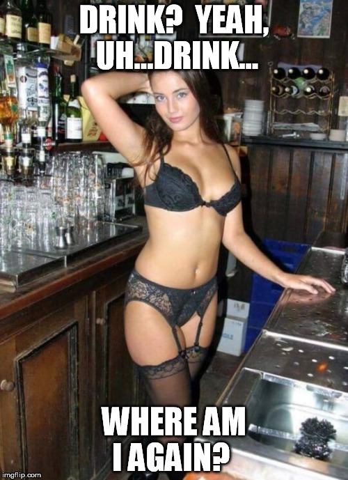 DRINK?  YEAH, UH...DRINK... WHERE AM I AGAIN? | image tagged in bombshell bartender | made w/ Imgflip meme maker