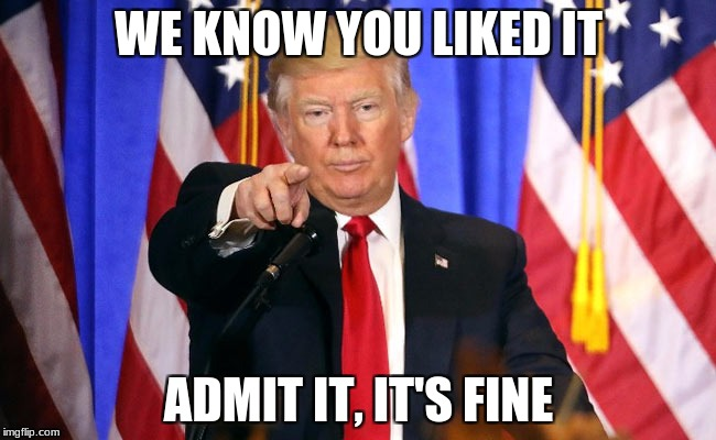 WE KNOW YOU LIKED IT ADMIT IT, IT'S FINE | image tagged in trump fake news | made w/ Imgflip meme maker