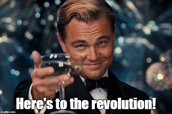Leonardo Dicaprio Cheers Meme | Here's to the revolution! | image tagged in memes,leonardo dicaprio cheers | made w/ Imgflip meme maker