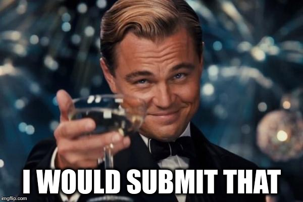 Leonardo Dicaprio Cheers Meme | I WOULD SUBMIT THAT | image tagged in memes,leonardo dicaprio cheers | made w/ Imgflip meme maker