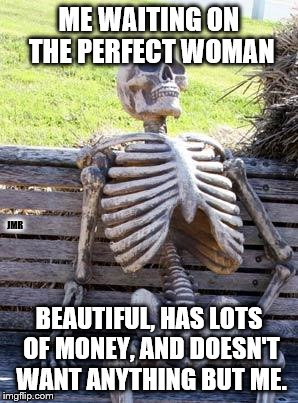 The Perfect Woman | ME WAITING ON THE PERFECT WOMAN BEAUTIFUL, HAS LOTS OF MONEY, AND DOESN'T WANT ANYTHING BUT ME. JMR | image tagged in waiting skeleton,perfect,woman,dating,relationships,unrealistic expectations | made w/ Imgflip meme maker
