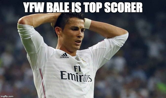 YFW BALE IS TOP SCORER | image tagged in cristiano ronaldo fail | made w/ Imgflip meme maker
