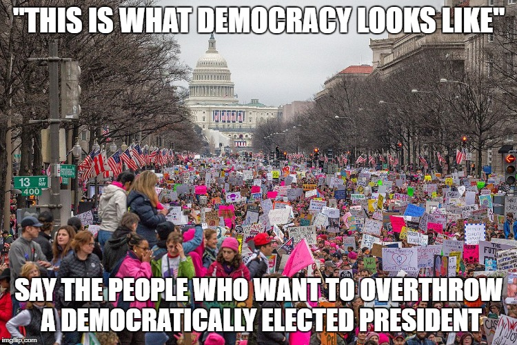 """THIS IS WHAT DEMOCRACY LOOKS LIKE"" SAY THE PEOPLE WHO WANT TO OVERTHROW A DEMOCRATICALLY ELECTED PRESIDENT 