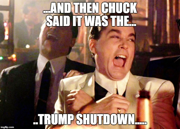 Lying Chuck | ...AND THEN CHUCK SAID IT WAS THE... ..TRUMP SHUTDOWN..... | image tagged in memes,good fellas hilarious,chuck schumer | made w/ Imgflip meme maker
