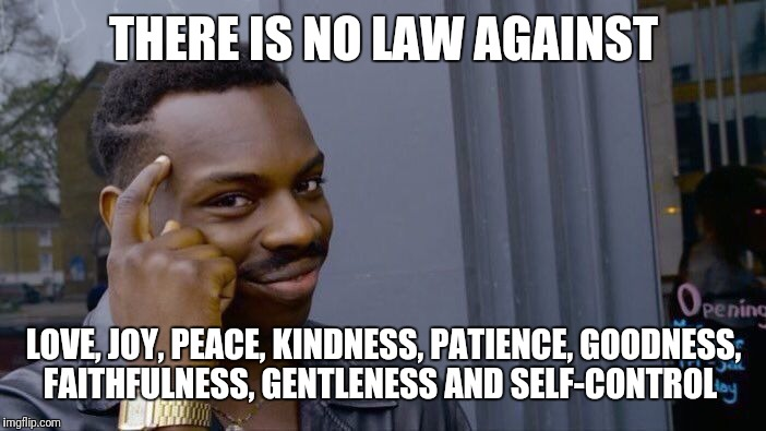 Roll Safe Think About It Meme | THERE IS NO LAW AGAINST LOVE, JOY, PEACE, KINDNESS, PATIENCE, GOODNESS, FAITHFULNESS, GENTLENESS AND SELF-CONTROL | image tagged in memes,roll safe think about it | made w/ Imgflip meme maker