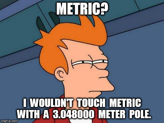 I wouldn't touch metric | METRIC? I  WOULDN'T  TOUCH  METRIC  WITH  A  3.048000  METER  POLE. | image tagged in memes,futurama fry,metric | made w/ Imgflip meme maker
