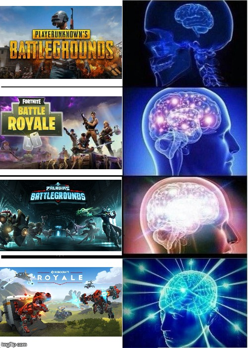 Me, an intellectual: Skirmish Royaleth | image tagged in pubg,fortnite,robocraft,battle royale,memes,expanding brain | made w/ Imgflip meme maker