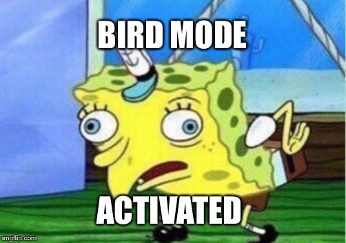 Bird Mode | BIRD MODE ACTIVATED | image tagged in memes,spongebob | made w/ Imgflip meme maker