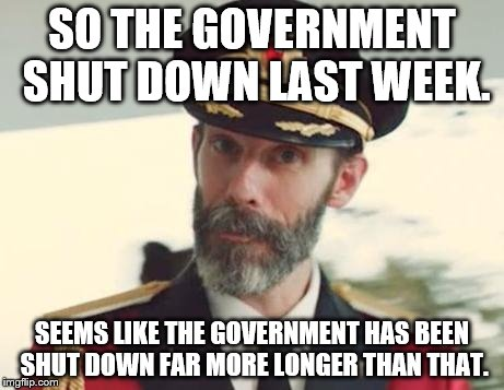 Captain Obvious | SO THE GOVERNMENT SHUT DOWN LAST WEEK. SEEMS LIKE THE GOVERNMENT HAS BEEN SHUT DOWN FAR MORE LONGER THAN THAT. | image tagged in captain obvious | made w/ Imgflip meme maker