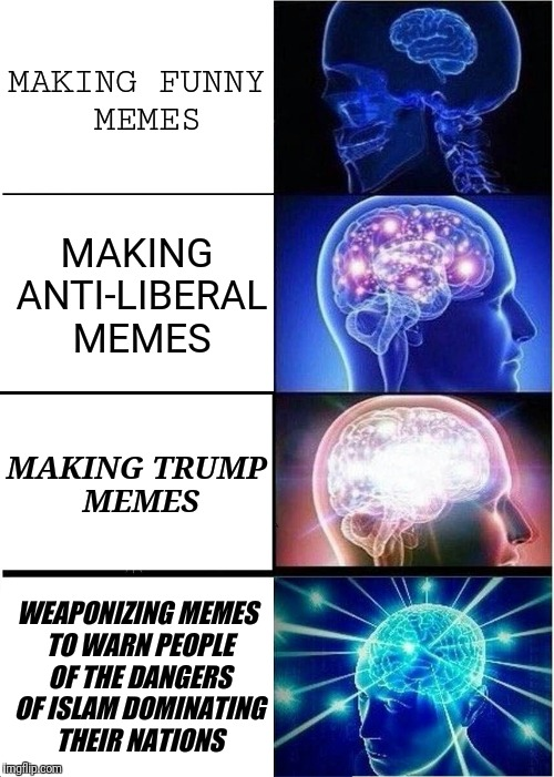 Expanding Brain Meme | MAKING FUNNY MEMES MAKING ANTI-LIBERAL MEMES MAKING TRUMP MEMES WEAPONIZING MEMES TO WARN PEOPLE OF THE DANGERS OF ISLAM DOMINATING THEIR NA | image tagged in memes,expanding brain | made w/ Imgflip meme maker