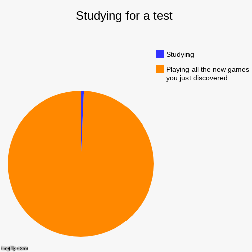 Studying for a test | Playing all the new games you just discovered, Studying | image tagged in funny,pie charts | made w/ Imgflip pie chart maker