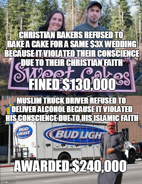 A company can't fire you for  conscientiously refusing to do your job but individuals can force you to do work for them? | CHRISTIAN BAKERS REFUSED TO BAKE A CAKE FOR A SAME $3X WEDDING BECAUSE IT VIOLATED THEIR CONSCIENCE DUE TO THEIR CHRISTIAN FAITH AWARDED $24 | image tagged in wedding cake,christian,baker,muslim,hypocrisy,memes | made w/ Imgflip meme maker