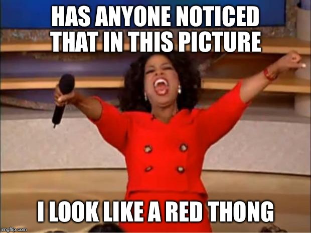 Oprah You Get A Meme | HAS ANYONE NOTICED THAT IN THIS PICTURE I LOOK LIKE A RED THONG | image tagged in memes,oprah you get a | made w/ Imgflip meme maker