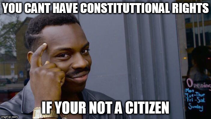 Roll Safe Think About It Meme | YOU CANT HAVE CONSTITUTTIONAL RIGHTS IF YOUR NOT A CITIZEN | image tagged in memes,roll safe think about it | made w/ Imgflip meme maker