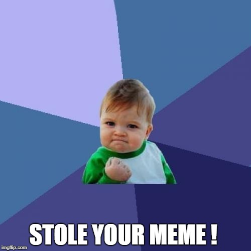 Success Kid Meme | STOLE YOUR MEME ! | image tagged in memes,success kid | made w/ Imgflip meme maker