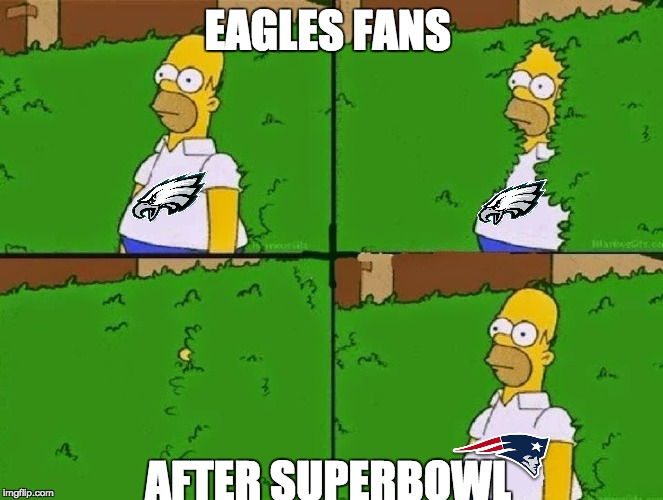 HOMER BUSH |  EAGLES FANS; AFTER SUPERBOWL | image tagged in homer bush | made w/ Imgflip meme maker