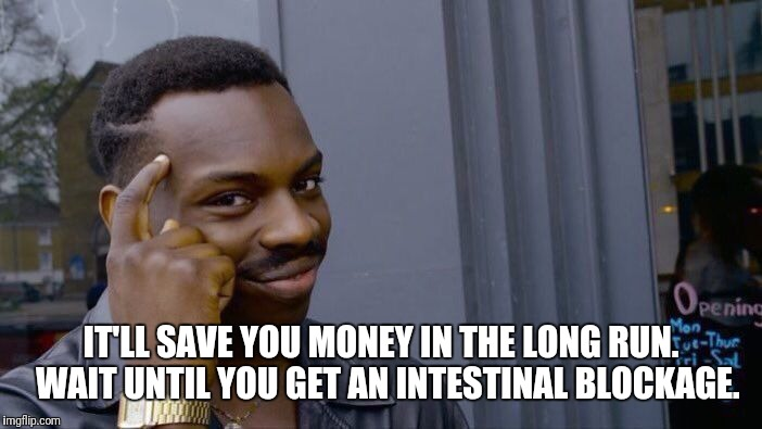 Roll Safe Think About It Meme | IT'LL SAVE YOU MONEY IN THE LONG RUN.  WAIT UNTIL YOU GET AN INTESTINAL BLOCKAGE. | image tagged in memes,roll safe think about it | made w/ Imgflip meme maker