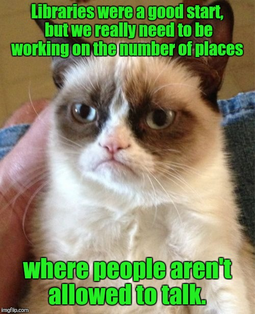 Grumpy Cat Meme | Libraries were a good start, but we really need to be working on the number of places where people aren't allowed to talk. | image tagged in memes,grumpy cat | made w/ Imgflip meme maker