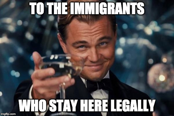 You are the dreamers we need. | TO THE IMMIGRANTS WHO STAY HERE LEGALLY | image tagged in leonardo dicaprio cheers,dreamers,donald trump,illegal immigration,government shutdown,schumer | made w/ Imgflip meme maker
