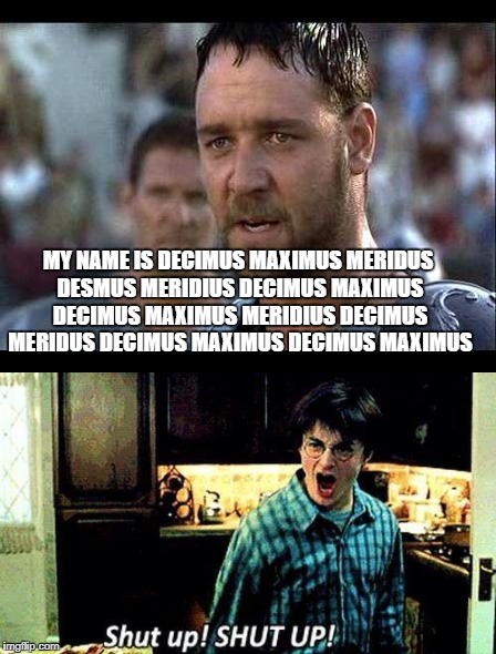 When you cant pause the 10 hour version | MY NAME IS DECIMUS MAXIMUS MERIDUS DESMUS MERIDIUS DECIMUS MAXIMUS DECIMUS MAXIMUS MERIDIUS DECIMUS MERIDUS DECIMUS MAXIMUS DECIMUS MAXIMUS | image tagged in gladiator,harry potter | made w/ Imgflip meme maker