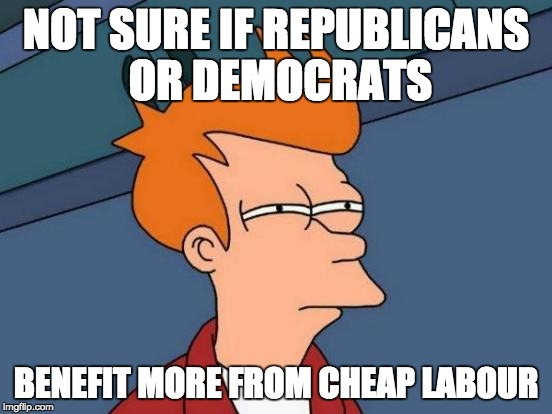 Futurama Fry Meme | NOT SURE IF REPUBLICANS OR DEMOCRATS BENEFIT MORE FROM CHEAP LABOUR | image tagged in memes,futurama fry | made w/ Imgflip meme maker