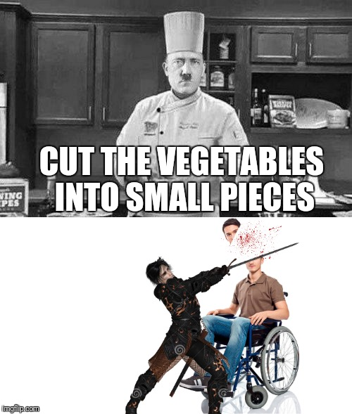CUT THE VEGETABLES INTO SMALL PIECES | image tagged in meme,dont be offended | made w/ Imgflip meme maker