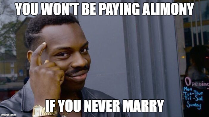 Roll Safe Think About It Meme | YOU WON'T BE PAYING ALIMONY IF YOU NEVER MARRY | image tagged in memes,roll safe think about it | made w/ Imgflip meme maker