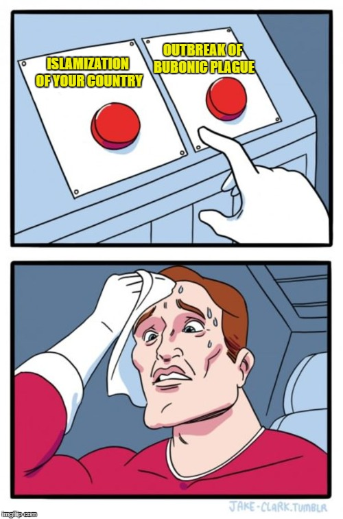 Two Buttons Meme | ISLAMIZATION OF YOUR COUNTRY OUTBREAK OF BUBONIC PLAGUE | image tagged in memes,two buttons | made w/ Imgflip meme maker