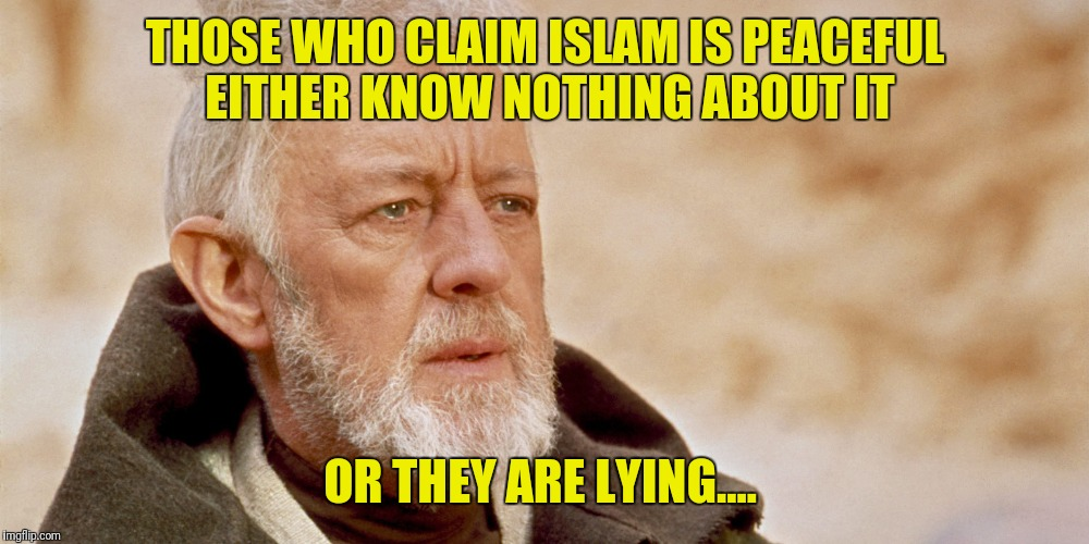 THOSE WHO CLAIM ISLAM IS PEACEFUL EITHER KNOW NOTHING ABOUT IT OR THEY ARE LYING.... | image tagged in obie wan | made w/ Imgflip meme maker