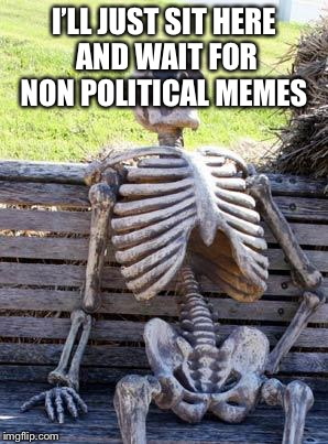 Waiting Skeleton Meme | I'LL JUST SIT HERE AND WAIT FOR NON POLITICAL MEMES | image tagged in memes,waiting skeleton | made w/ Imgflip meme maker