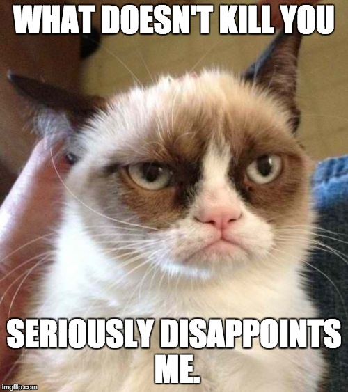 Grumpy Cat Reverse Meme | WHAT DOESN'T KILL YOU SERIOUSLY DISAPPOINTS ME. | image tagged in memes,grumpy cat reverse,grumpy cat | made w/ Imgflip meme maker