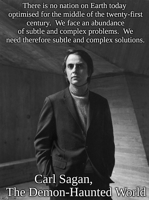Carl Sagan | There is no nation on Earth today optimised for the middle of the twenty-first century.  We face an abundance of subtle and complex problems | image tagged in carl sagan | made w/ Imgflip meme maker