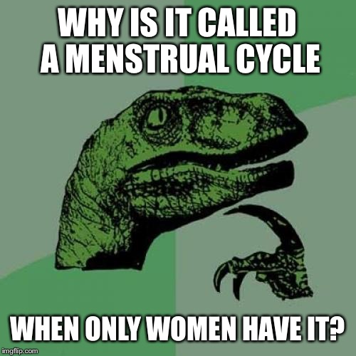 Philosoraptor Meme | WHY IS IT CALLED A MENSTRUAL CYCLE WHEN ONLY WOMEN HAVE IT? | image tagged in memes,philosoraptor | made w/ Imgflip meme maker