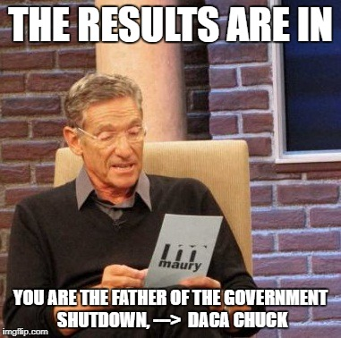 DACA CHUCK THE LIE DETECTOR CNN WONT USE | THE RESULTS ARE IN YOU ARE THE FATHER OF THE GOVERNMENT SHUTDOWN, --->  DACA CHUCK | image tagged in memes,maury lie detector | made w/ Imgflip meme maker