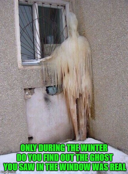 Frozen ghost for Ghost Week Jan. 21-27...A LaurynFlint Event | ONLY DURING THE WINTER DO YOU FIND OUT THE GHOST YOU SAW IN THE WINDOW WAS REAL | image tagged in frozen ghosts,memes,ghosts,funny,ghost week,freezing | made w/ Imgflip meme maker