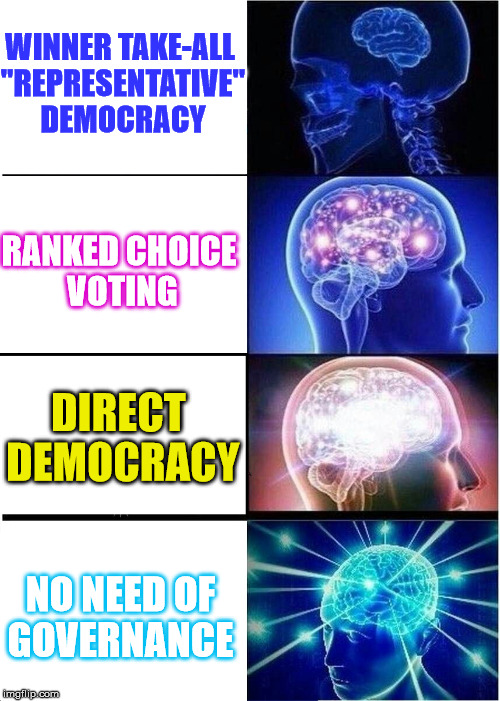 "No Need | WINNER TAKE-ALL ""REPRESENTATIVE"" DEMOCRACY NO NEED OF GOVERNANCE RANKED CHOICE VOTING DIRECT DEMOCRACY 